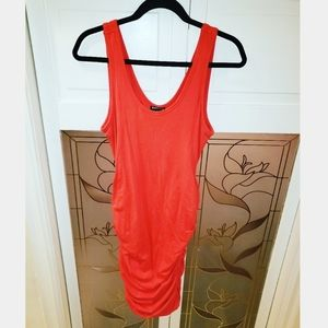 Like New Express Coral Ruched Midi Dress Sz Med